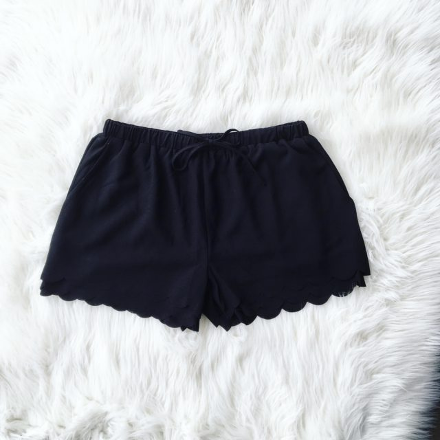Black Scalloped Shorts